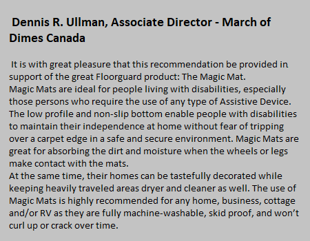 Rismat FloorGuard March of Dimes Canada Testimonial
